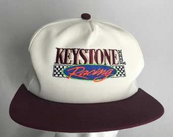 44130cc9 Vintage 90s Red and Maroon Flat Brim Keystone Racing Checkered Flag  Snapback Hat