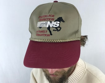 75e1c27148d Vintage Norfolk Southern Freight Train Two Tone Leather Strap Back Rope Hat