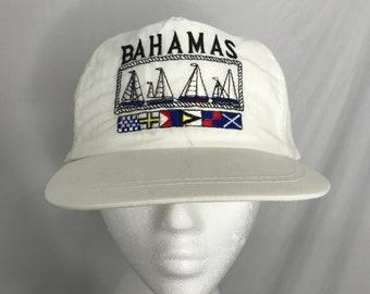 eb975c83 Vintage 90s Bahamas Sailing Boats and Flags White Snapback Hat