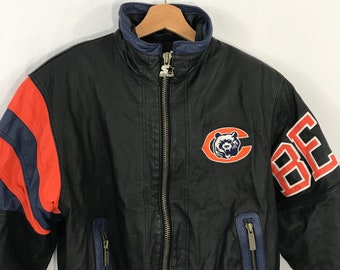 RARE Vintage Chicago Bears NFL Starter Leather Jacket Spellout wih Nylon  Lining Size Small 3d1d0aa35