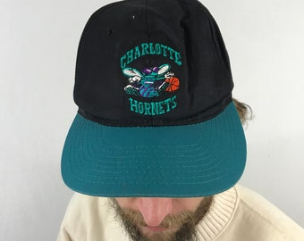 Vintage 90s Charlotte Hornets NBA Snapback Hat Michael Jordan fbd5bc1f8a8a