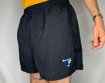 f2abe766846e9 Vintage 90s Champion Black Swim Trunks Bathing Suit with Green and Blue  Logo Size XL
