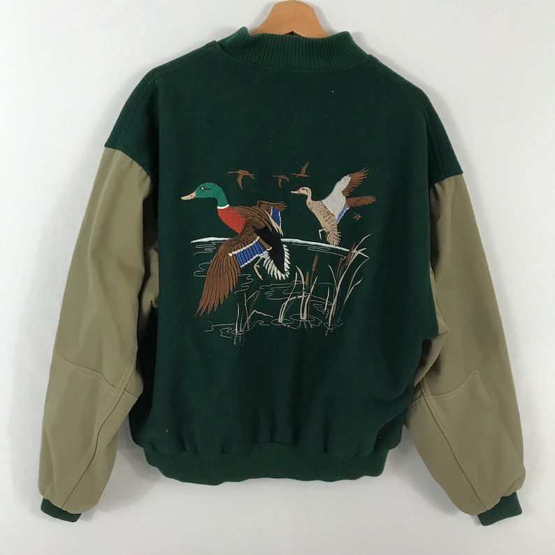1062a3c61 Vintage 90s Mallard Ducks Green and Beige Thick Bomber Jacket Size Large