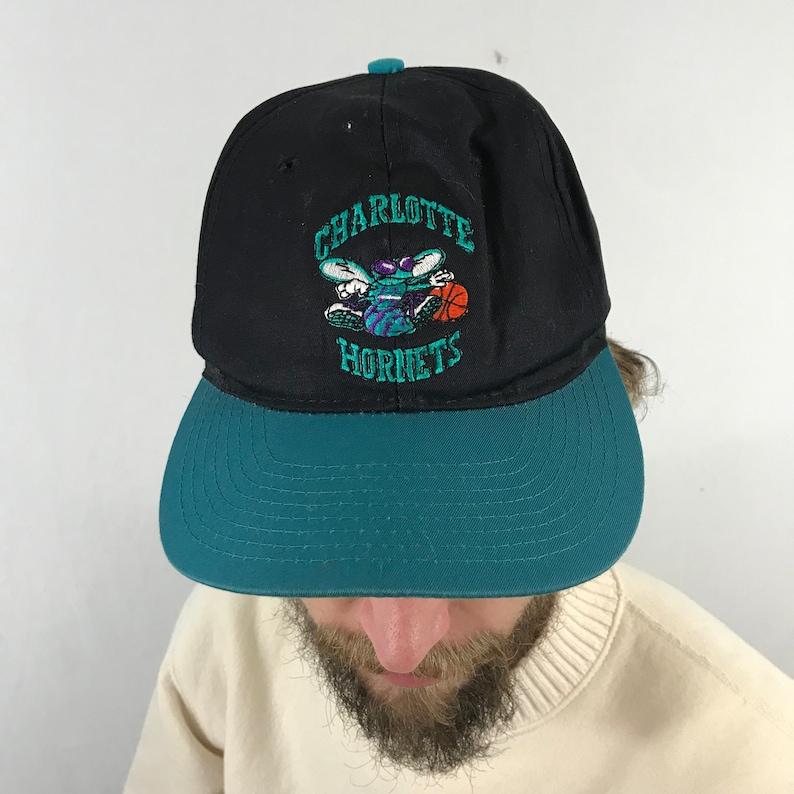 797573fed94 Vintage 90s Charlotte Hornets NBA Snapback Hat Michael Jordan