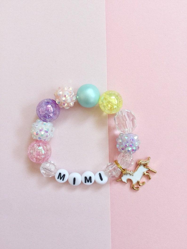 Toddler Bracelet Bracelet for Girls Custom Name Charm Bracelet Unicorn Kids Bracelet Personalized Kids Jewelry