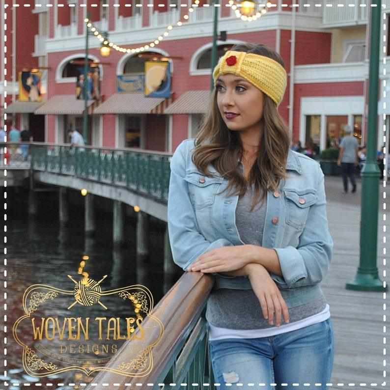 Beauty and the Beast Winter Headband Fall Fashion Crocheted Handmade Belle Earwarmer Headband Disney Princess Inspired