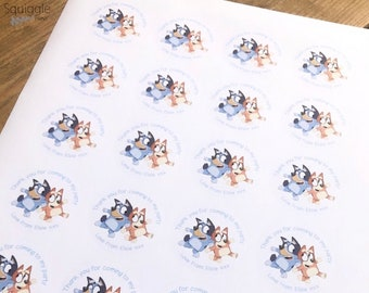 Personalised Bluey Sweet Cone Stickers Birthday Party Bag Recyclable Paper Stickers
