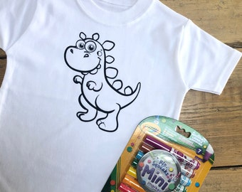 Kids Dinosaur Colouring T-shirt - Colour In Washable Top With Or Without Crayola Markers