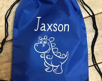 Personalised Dinosaur Bag - Swimming, School, Football Draw String Bag