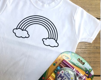 Kids Rainbow Colouring T-shirt - Colour In Washable Top With Or Without Crayola Markers