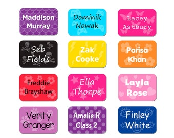 ONE4ALL Personalised Name Sticker Labels For Clothing, School Uniform, Bags, Shoes - Range Of Colours/Patterns (Pack of 60)