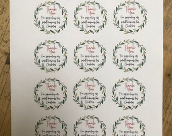 Thank You For Supporting My Small Business Christmas Stickers - Recyclable