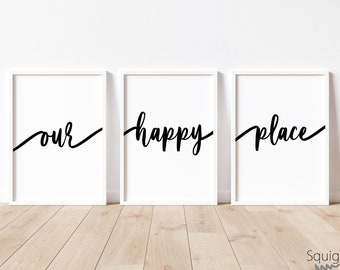Our happy Place | A4 Home prints | Set Of Three Typography Prints