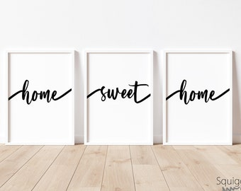 Home Sweet Home | A4 Home prints | Set Of Three Typography Prints