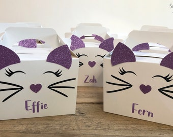 Cat Kitty Party Boxes party bag box favours children's party hand made to order (Pack of 10)
