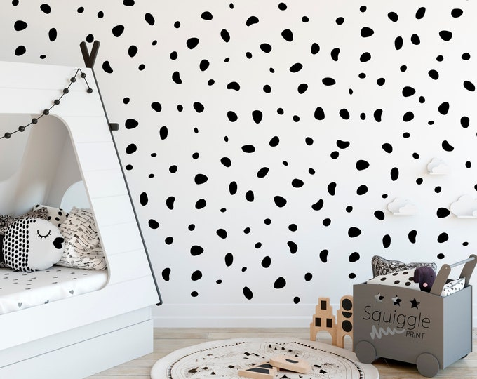 Featured listing image: Irregular Dot Dalmatian Vinyl Stickers nursery bedroom wall available in 2 sizes, 8 colours
