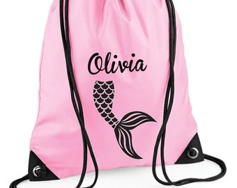 Personalised Mermaid Swimming Bag Draw String