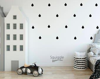 Raindrop vinyl wall stickers
