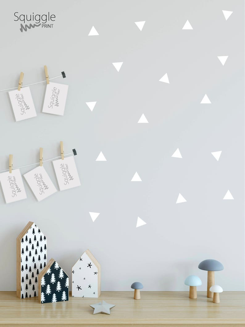 Triangle sticker nursery bedroom vinyl wall stickers available in 2 sizes and 8 colours black white grey pink gold mint