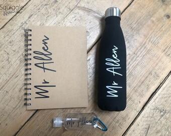 Personalised Teacher Bundle - Christmas Gift - Drink Bottle A5 Pad Hand Gel