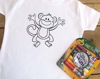 Kids Monkey Colouring T-shirt - Colour In Washable Top With Or Without Crayola Markers