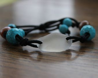 White and Turquoise Beach Glass Stretch Bracelet