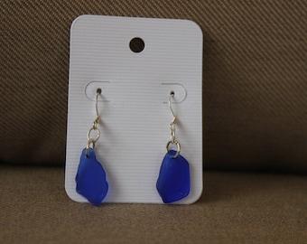 Cobalt Blue Beach Glass Dangle Earrings