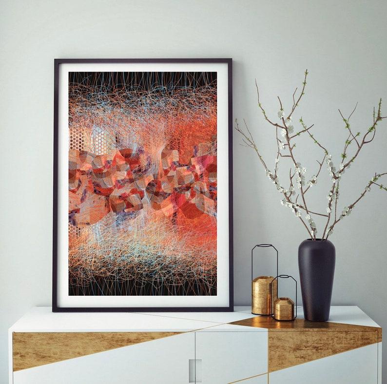 Abstract art warm color decor print on wall Abstract digital image 0