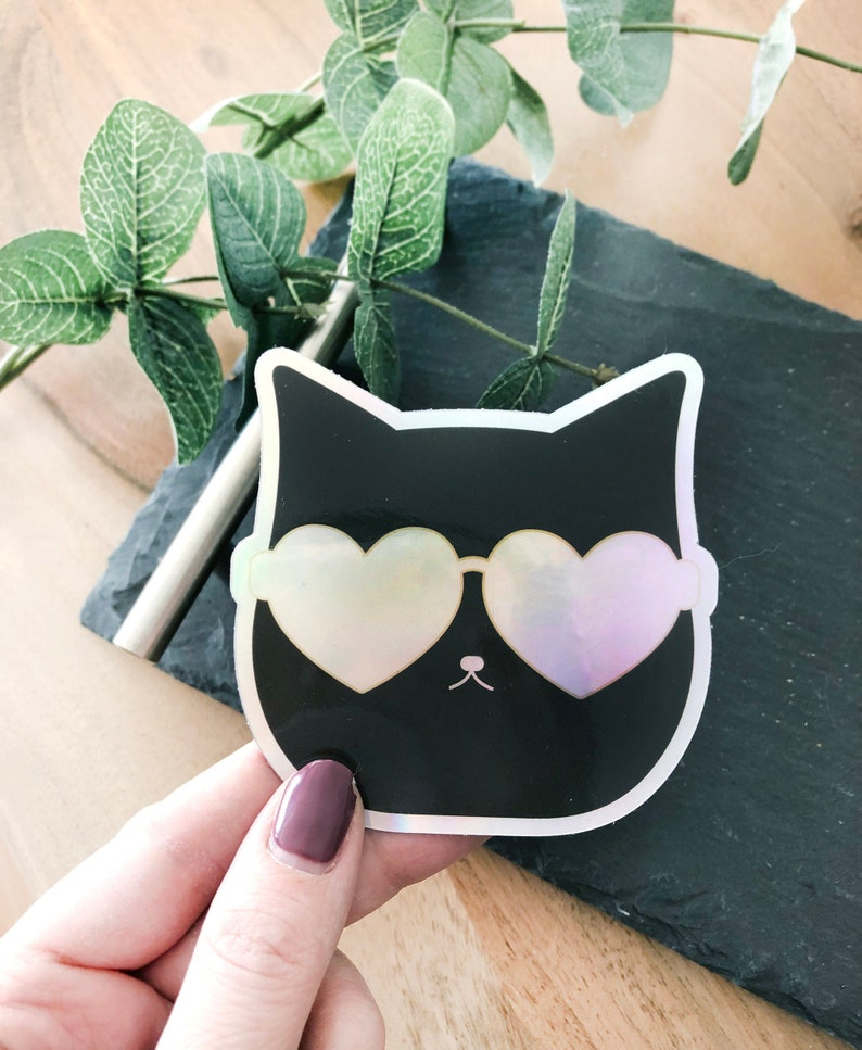 Rainbow Heart sunglasses Decal Cat with Sunglasses Sticker Holographic Cat in Sunnies Sticker