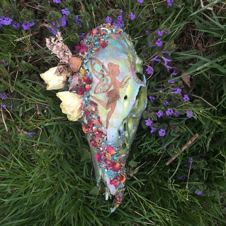 Painted Deer Skull- fairy decor rose magic painted animal skull woodland floral faerie fairy painting
