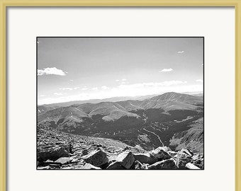 Mountain Photography| Colorado Rockies| Wall Art| Black and White | Summit| Hiking| Fine Art Photography