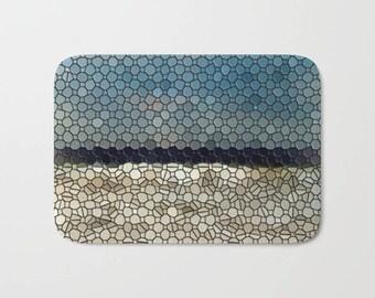 Bath Mat| Ocean Waves| Pacific| Beach| Mosaic| Shower Bath Mat| Spa| Bathroom| Blue| White| Traditional| Beach House