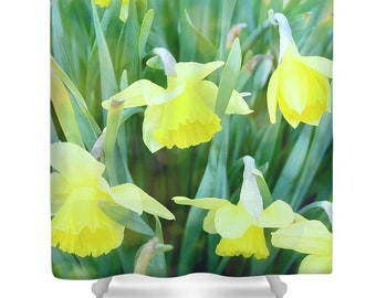 Fabric Shower Curtain, Daffodils, Yellow, Green, Spring, Flowers, Unique Gift, Bathroom Decor