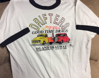 Vintage 1989  Drifters Good-time Drags at Island Dragway T-shirt
