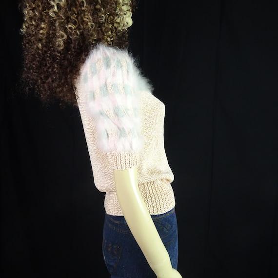 NOS Vintage 1980s Sweater * Super Fuzzy * White P… - image 6