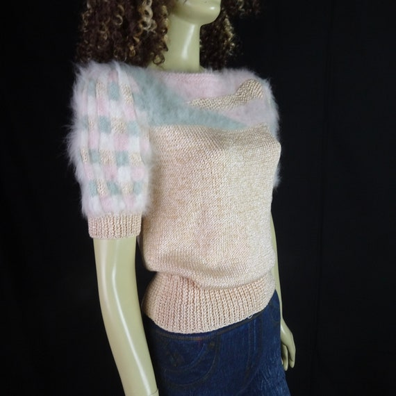 NOS Vintage 1980s Sweater * Super Fuzzy * White P… - image 9