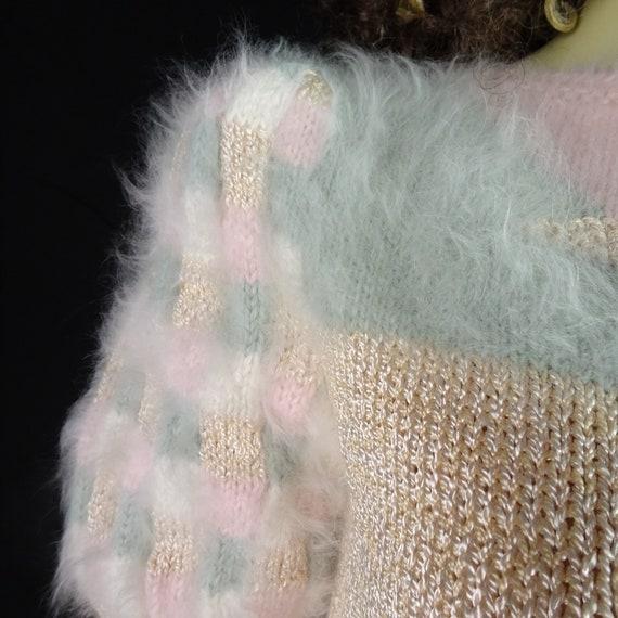 NOS Vintage 1980s Sweater * Super Fuzzy * White P… - image 2