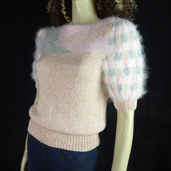 NOS Vintage 1980s Sweater * Super Fuzzy * White P… - image 10