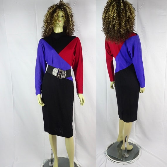 Vintage 80s * 100% Wool * Color Block Sweater Dres