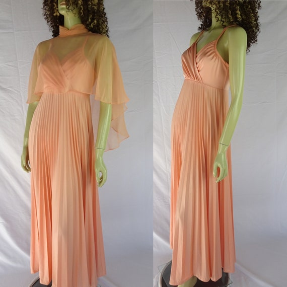 Vintage 1970s * Peach Polyester * Pleated Dress wi