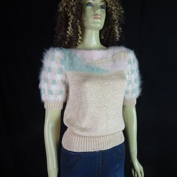 NOS Vintage 1980s Sweater * Super Fuzzy * White P… - image 4