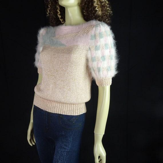 NOS Vintage 1980s Sweater * Super Fuzzy * White P… - image 1