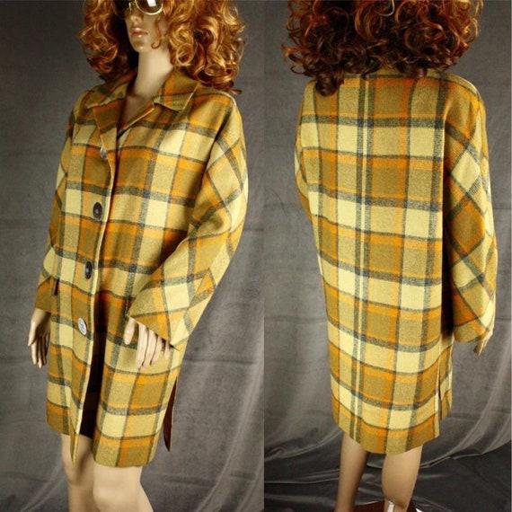 Vintage 50s 60s * Stylish Plaid Oversize Jacket *