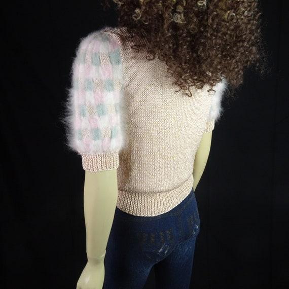 NOS Vintage 1980s Sweater * Super Fuzzy * White P… - image 8