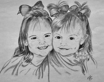 Custom Graphite Pencil Portrait Drawing from Photo - Two Subjects