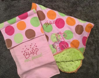 Personalized Baby blankets burp cloths and bibs
