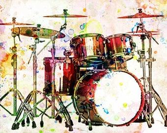 Drummer Gifts, Drums, Drum Set, Cool Music Prints, Music Mixed Media, Rock n Roll Art, Rock and Roll Prints, Dorm Room Art, Boys Room, Punk