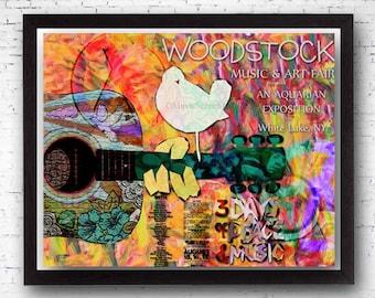 Hippie Art, Peace Sign, Peace Art, Woodstock Art, Original Hippie Painting Print, Mixed Media Art, Dorm Room Art, 60s Music, Music Festival
