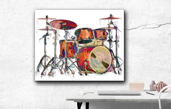 Vector Illustration On Canvas Expressive Musician Drums Wall Art Rock Drummer Player Canvas Print Music Art Music Poster Wall Decor