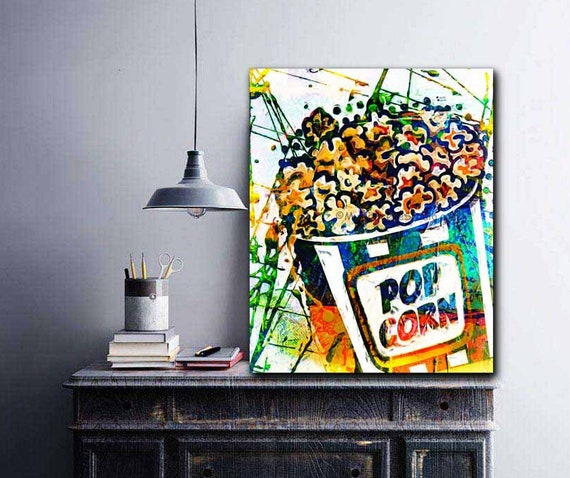 Popcorn Home Movie Theater Wall Art Game Room Wall Popcorn   Etsy